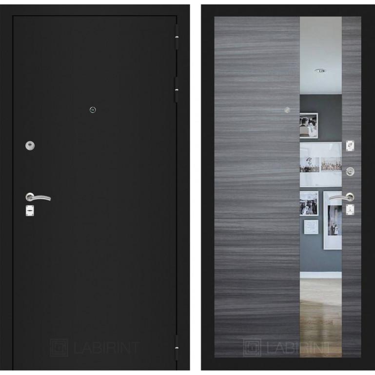 Дверь Лабиринт Classic с зеркалом (Шагрень черная / Сандал серый)