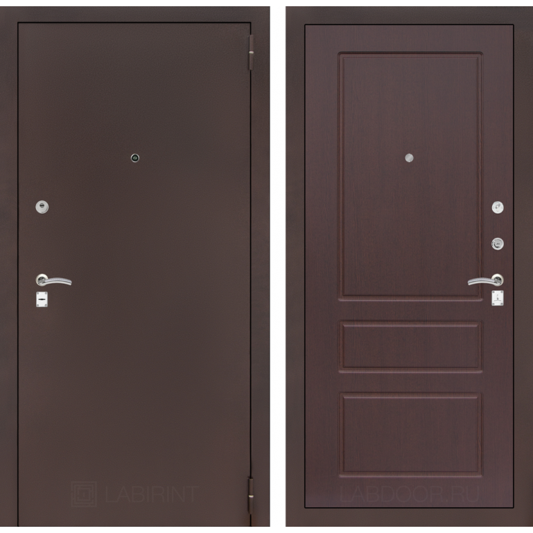 Дверь Лабиринт Classic 03 (Антик медный / Орех премиум)