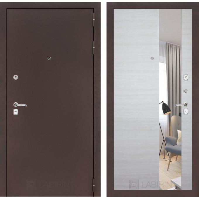 Дверь Лабиринт Classic с зеркалом (Медный антик / Акация светлая)