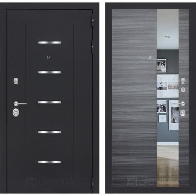Стальная дверь Лабиринт ALFA с зеркалом (Сандал серый)