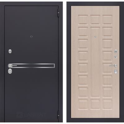 Стальная дверь Лабиринт LINE 04 (Беленый дуб)