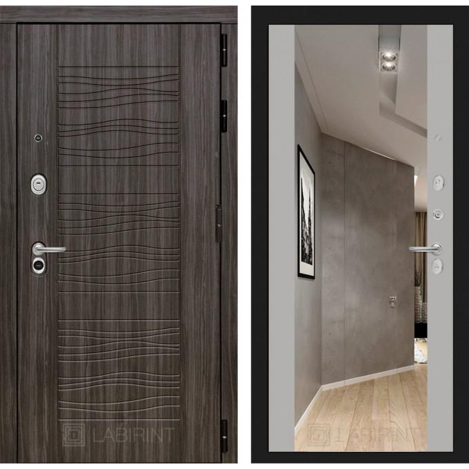 Стальная дверь Лабиринт SCANDI Максимум с зеркалом (Грей софт)