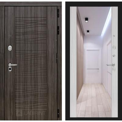 Стальная дверь Лабиринт SCANDI Максимум с зеркалом (Сандал белый)