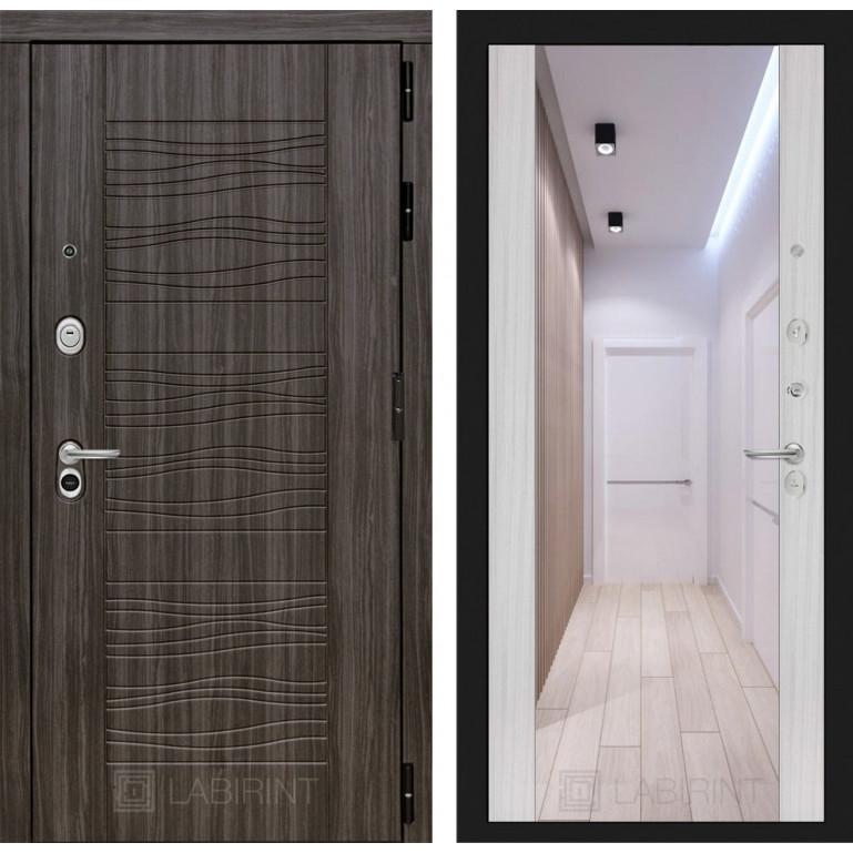Стальная дверь Лабиринт SCANDI с зеркалом (Сандал белый)