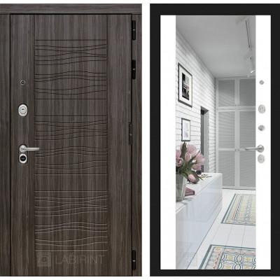 Стальная дверь Лабиринт SCANDI Максимум с зеркалом (Белый софт)